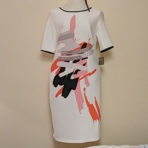 White Abstract Plus Size Tunic Dress 16 (14/16)